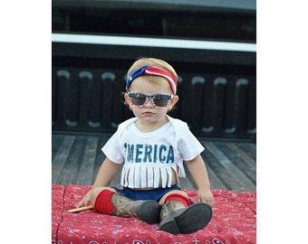 Merica Baby Girl Crop Top , Baby Fringe Crop Top , White Baby Crop Top , Baby America Shirt , Fourth Of July Baby Shirt