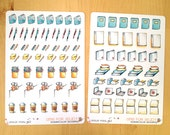 91 Watercolor Stickers for Study, Life Planners, Agendas and Scrapbooking. Also available as removable!