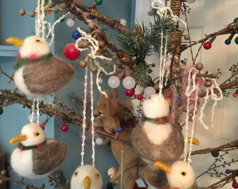 Needle Felted Seagull Ornaments