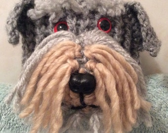 Schnauzer dog hand crochet toilet roll cover.