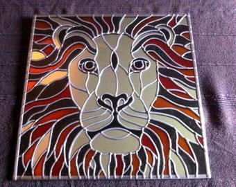 """Hand Made 'Lion' design Mirror. 12x12"""""""