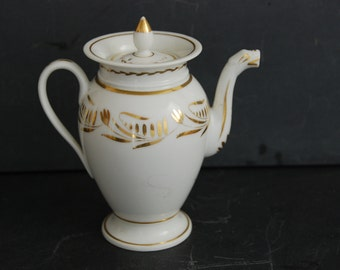 Vieux Paris Chocolatiere, hot chocolate, coffee pot. Fine bone china, French C19th. 2 cup size, good condition. French chic for your table.