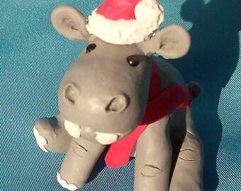 Polymer Clay Hippo ~ Hippopotamus ~ Christmas Ornament ~ Santa Hat