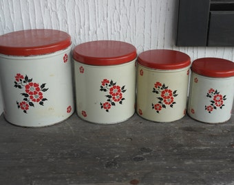 RESERVE TO TERRY Vintage Red Poppy Metal Canister Set Decoware