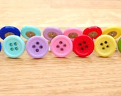 Button earrings, quirky earrings, hypoallergenic plastic studs, rainbow colours, button jewellery, earring gift set, gift for her