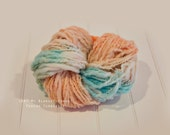 Merino Handspun Thick and Thin Yarn Blanket Photo prop - 4 oz - Peach Turquoise Yarn - newborn Basket filler Ready to Ship