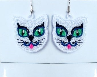 Cat earrings 1 design - FSL - lace- Machine embroidery digitization./INSTANT DOWNLOAD