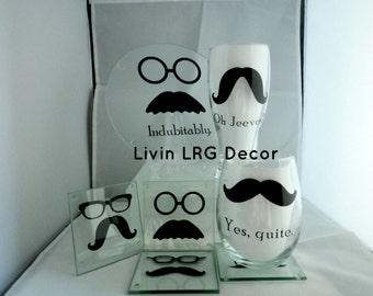 Staches and Glasses Hostess Gift Set