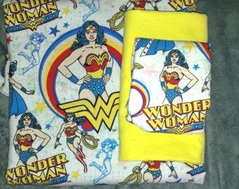 Wonder women blanket,receiving blanket and burp cloth gift set