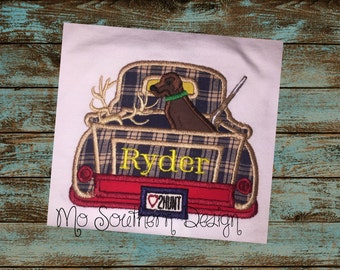 Boys /Embroidered Hunting Truck Applique Shirt - Hunting Applique Shirt - Hunting Truck Shirt