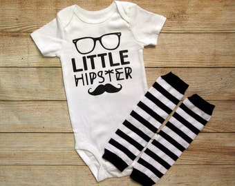Hipster baby bodysuit and leg warmers / baby boy set / baby boy onesie and leg warmer set / monochrome hipster baby / monochrome baby set