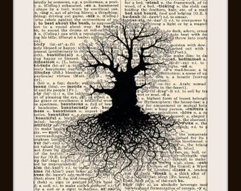 Rooted Tree Silhouette--Vintage Dictionary Art Print---Fits 8x10 Mat or Frame
