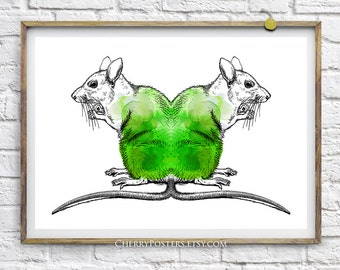 Radioactive Rats - Watercolor Print - Home decor wall art, rats painting, rats watercolor, rats print, rats poster, mouse illustration, art.