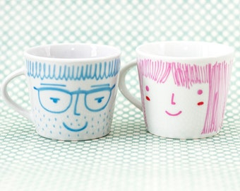 Face cups - Set of two espresso ceramic cups