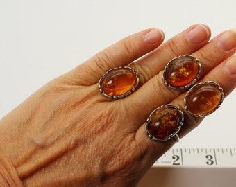 Choose 1 of 4 Baltic Amber vintage rings different sizes 6.5, 7.5, 8
