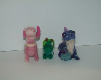 Needle Felted Dragon Family - Set of 3