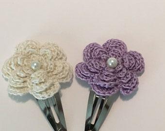 Floral Crochet Hair Clip Set of 2
