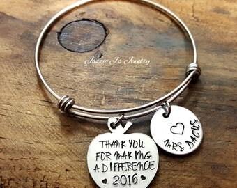 Thank You For Making A Difference Teacher Bangle, Personalized Custom Bangle, Teacher Appreciation, Teacher Gift, Teacher Keepsake, School