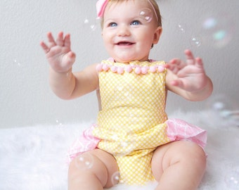 Baby Girl Romper, lemonade romper and head wrap set, light pink and yellow romper, girls lemonade stand outfit, baby pink romper
