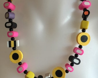 Licorice allsorts polymer clay necklace