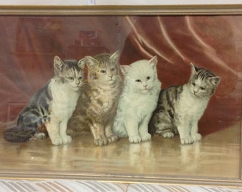 Bizarre vintage print featuring cats with human-like faces