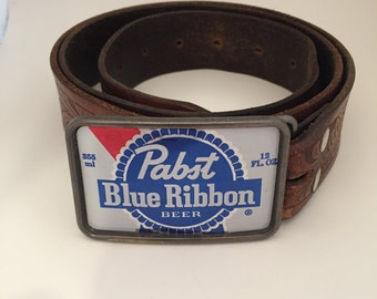 Pabst Blue Ribbon / PBR Upcycled Beer Belt Buckle