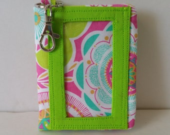 Pink and Lime Green Floral Print Velcro Wallet with Key Ring