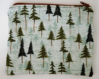 A Tree in the Forest Travel Size Zipper Pouch with Lining - Finished Handmade Product