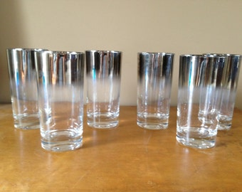 Vintage Dorthy Thorpe Mercury Silver Mad Men Glass set of 6