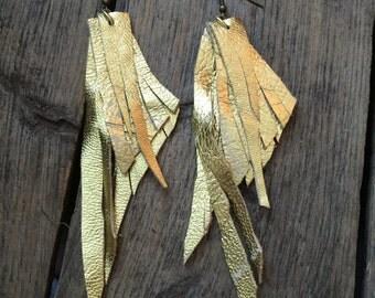 Gold Leather Fringe Earrings