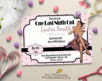 Pin Up Bridal Shower Printable Invitation