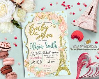 Paris Baby Shower Invitation / Digital Printable Eiffel Tower Invite / DIY Party
