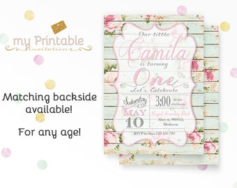 Shabby Chic  First Birthday Invitation / Digital Printable Birthday Invite for Kids / Rustic Party / DIY