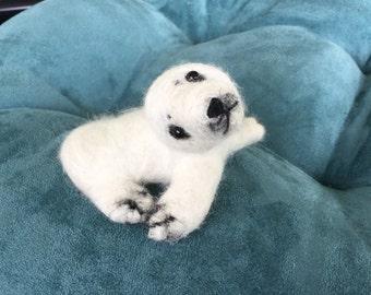 Little Seal, needlefelted animal, miniature, angora, handmade.