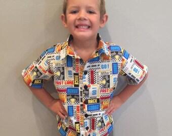 Toddler Boys Button Up Shirt Speedway Fabric