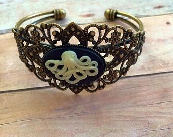 Kraken Cameo Filigree Cuff Bracelet