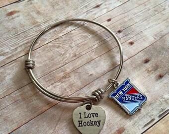 NHL NY Rangers Hockey Charm Bracelet