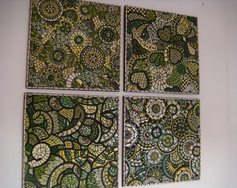 Mosaic handcrafted art Contemporary modern designs 4 picture set