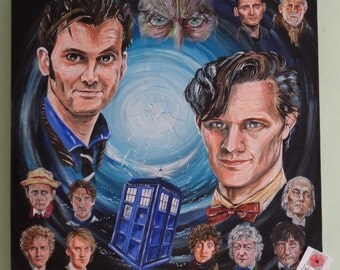 Doctor Who tribute painting, Doctor Who, Fan Art, Original Artwork, Tardis, Doctor Who Art, Statement art, canvas art, home decor, wall art