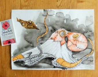 Steampunk octopus original fantasy art illustration fantasy octopus steampunk art
