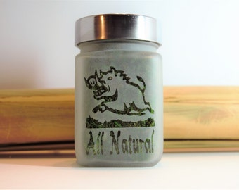 Wild Boar All Natural Etched Glass Stash Jar - Hunting & Fishing Gifts for Him