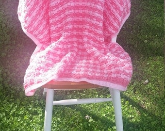 Baby blanket featuring a basket weave stitch!