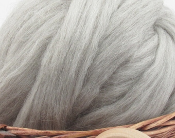 Natural Grey Corriedale Wool Top Roving - Undyed Natural Spinning & Felting Fiber / 1oz