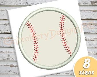 Baseball Applique Design - 8 sizes - Machine Embroidery Design File