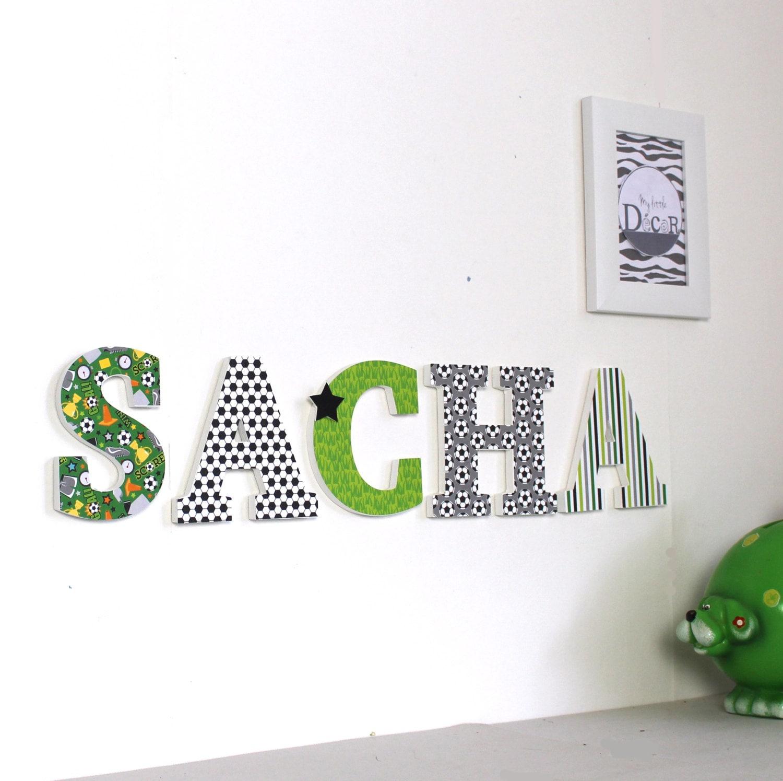 lettres d cor es en bois pr nom sacha vert et gris th me. Black Bedroom Furniture Sets. Home Design Ideas