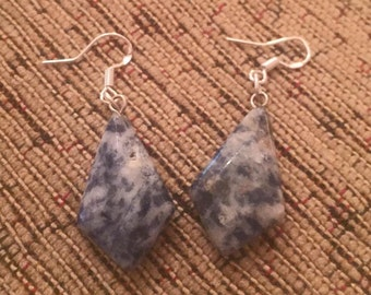 Sodalite dangly silver earrings