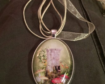 Vintage style Forest scene large silver pendant on organza ribbon necklace