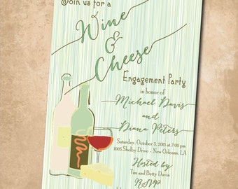 Wine & Cheese Engagement Party Invitation / DIGITAL FILE / printable / wording can be changed