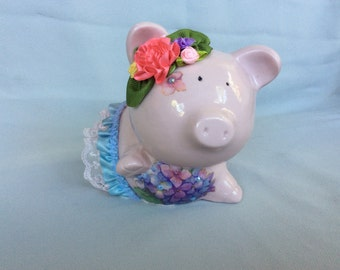 Piggy Bank Pink  Handcrafte