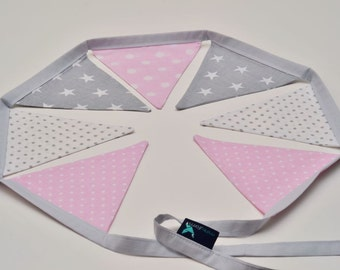 Bunting Garland Fabric Flags Pennants : Pink, White, Grey